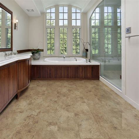 Beige Tile Allure Vinyl Plank Flooring Matched With White