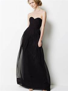 Black chiffon strapless long bridesmaid dress wedding beta for Long black dress for wedding