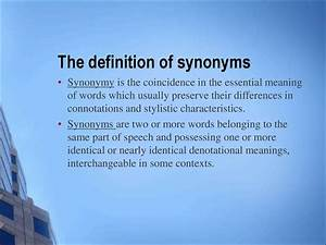 Lecture 9  Synonyms