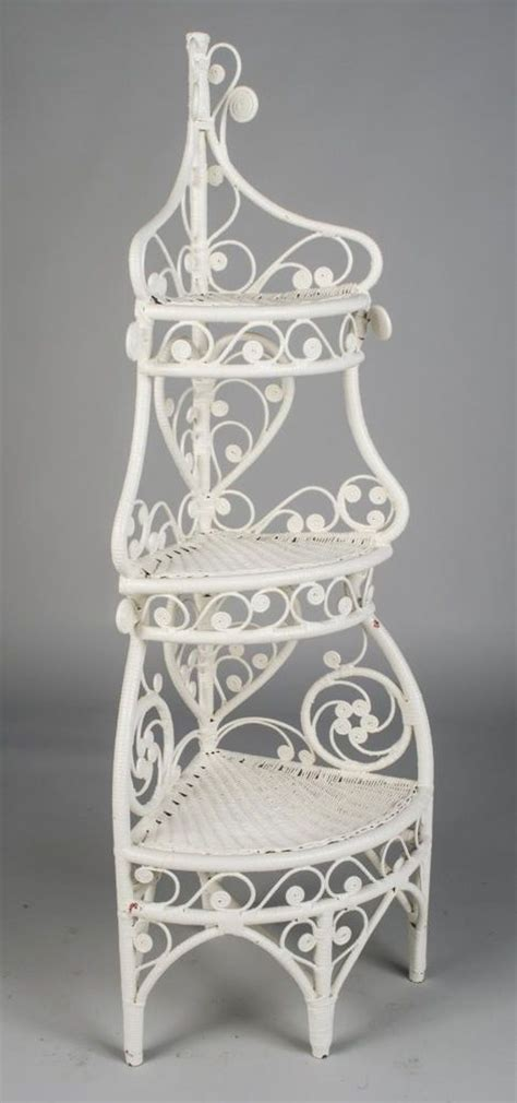 ornate white wicker corner etagere   shelf antique