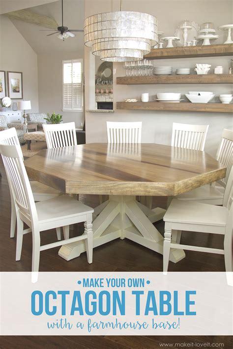 Diy Octagon Dining Room Tablewith A Farmhouse Base