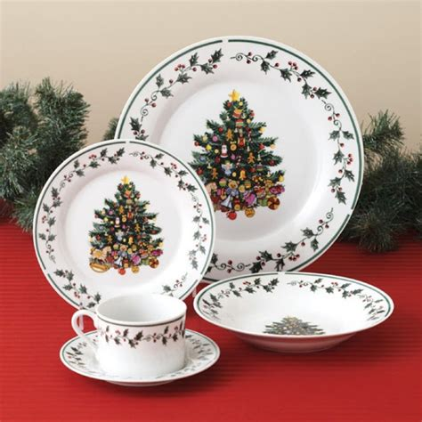 christmas gibson dinnerware tree trimmings dinner piece plate sets plates holiday holly amazon spode porcelain dishes china holidays service bowls