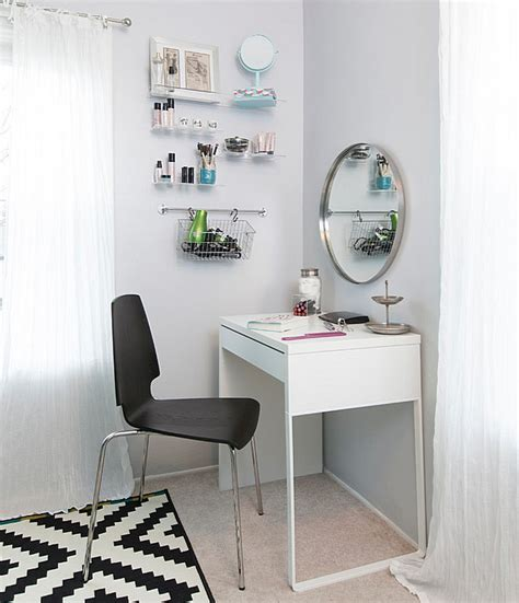 White Ikea Micke Vanity Desk In A Dressing Room With White
