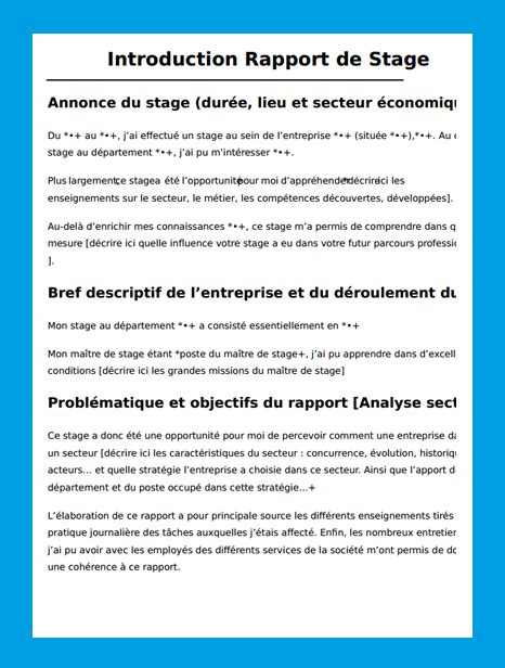 rapport de stage cuisine introduction rapport de stage exemple introduction