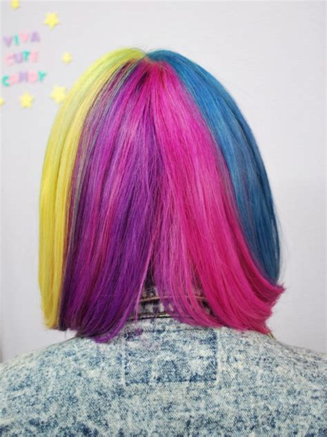short straight rainbow bob hairstyle  blunt bangs