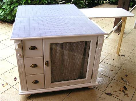 grand bureau blanc meuble de couture maison avec table découpe intégrée