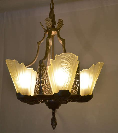 deco slip shade chandelier at 1stdibs
