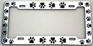 animal paws license plate frame chrome plated metal by With kitchen colors with white cabinets with dog paw print stickers for cars