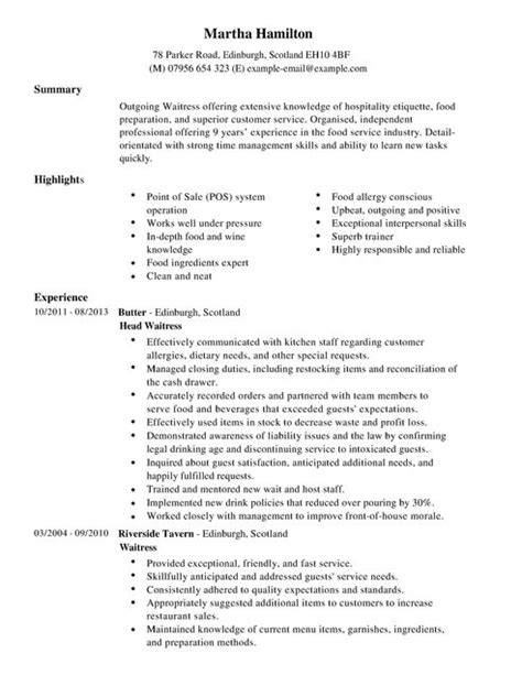 Waitress Resume Objective by Waitress Cv Exle For Restaurant Bar Livecareer