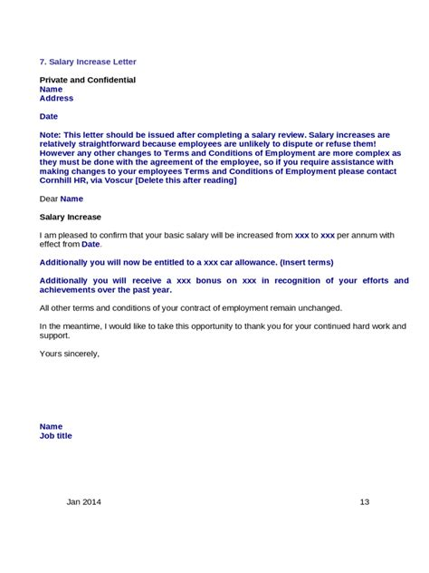 salary increment letter sample  cover letter samples