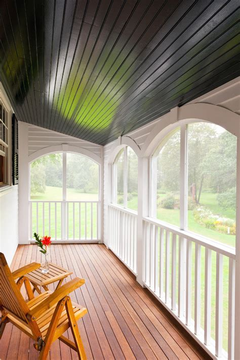 porch ceiling ideas Porch Traditional with beams bench