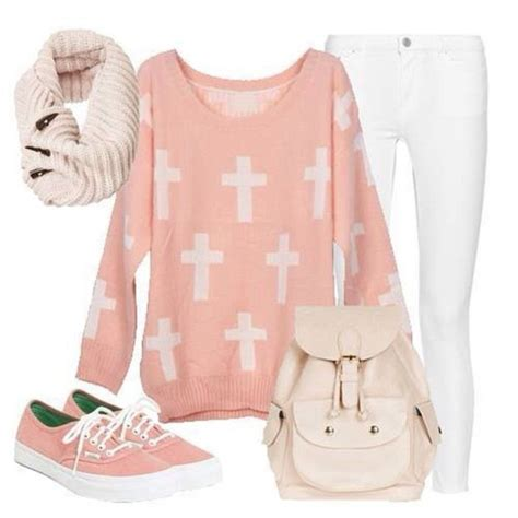 Jeans sweater pants pink cute girly outfit outfit idea cross hipster - Wheretoget