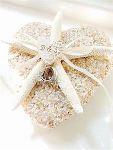 starfish shell ring pillow beach wedding personalized ring With wedding ring holder pillow