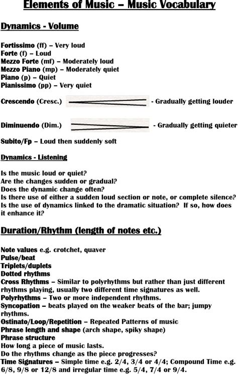 gcse music dr smith definitions elements of music