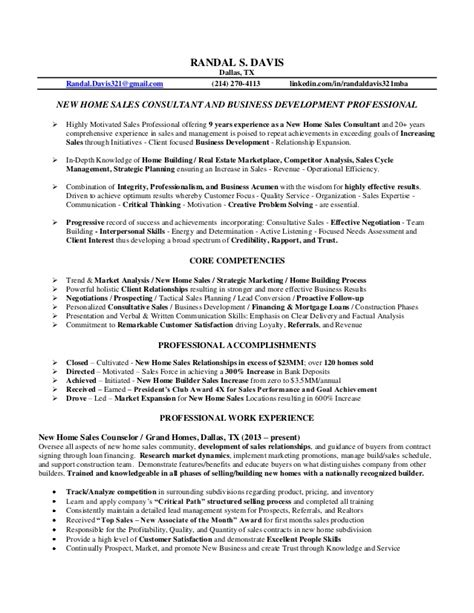 Real Estate Sales Consultant Sle Resume by Randal Davis Resume New Home Sales