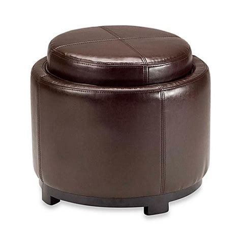 round ottoman with tray buy safavieh hudson leather chelsea round tray ottoman in