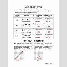 End Behavior Of A Polynomial Function A Graphing Calculat  For The High School Math Classroom