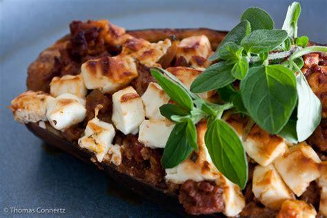 gefuellte aubergine mit hackfleisch feta und frischem