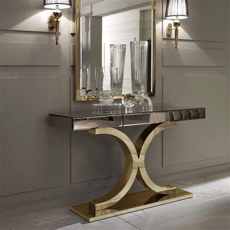 Stylish Home Interiors - designer italian bronze mirrored glass modern gold console juliettes interiors