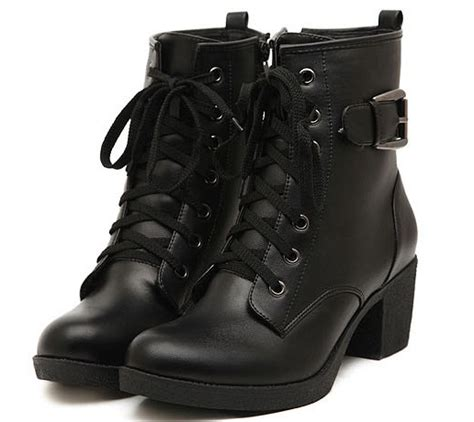 Punk Style Bandage Side Zipper Chunky Heel Platform Ankle