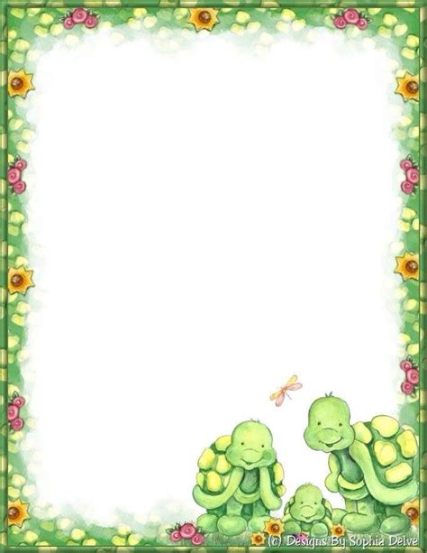turtle stationary borders  paper turtle art