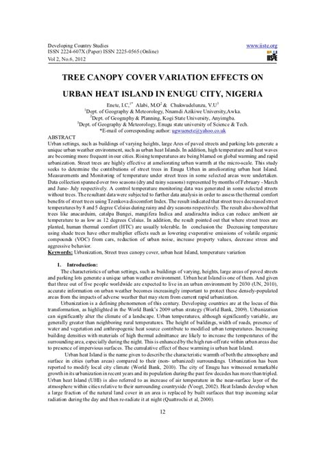 Tree canopy cover variation effects on