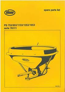 Vicon Fertiliser Spreader Ps 753 953 1153 1353 1653 Parts Manual