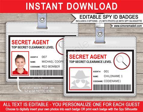 secret agent badge template spy badge birthday party