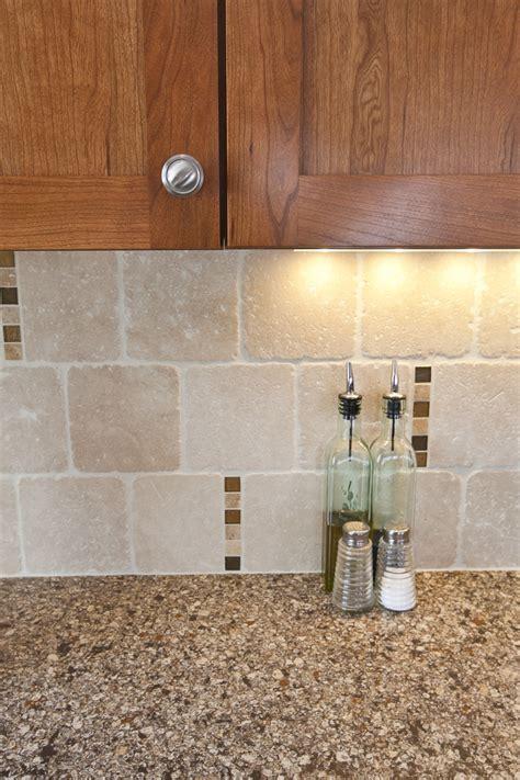 travertine kitchen backsplash travertine backsplash scattered glass accent tile