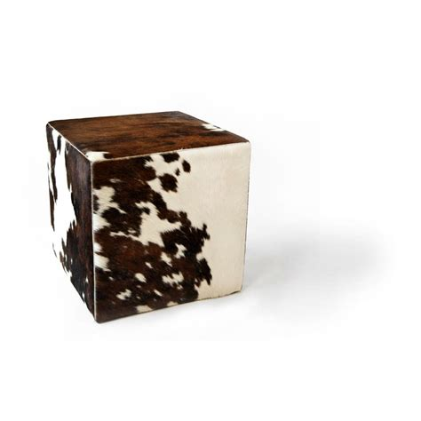 Cowhide Cube Ottoman by Cowhide Cube Pouf Ottoman Brindle Brown White Fur Home