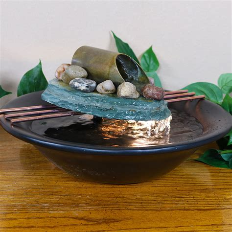 soothing balance slate tabletop water w led light fountain