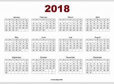 Printable 2018 One Page Calendar – 2018 Calendar Template