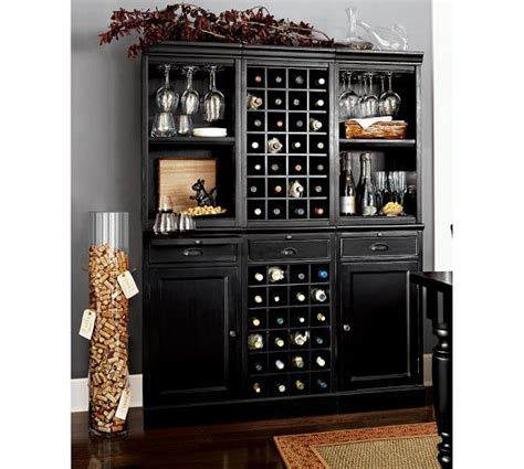 pottery barn wine cabinet modular bar system with 1 wine hutch 2 open hutch