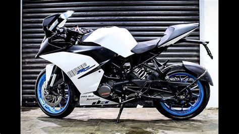 Ktm Rc 200 Modification by Ktm Rc 200 2018 White Wrap Blue Alloy Wheels