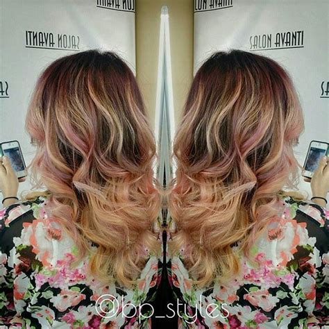 blonde  peach ombre hair hair colar  cut style