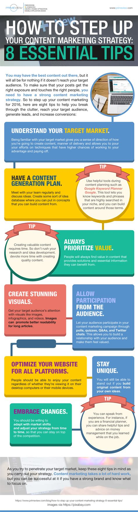 How To Step Up Your Content Marketing Strategy 8 Essential Tips [infographic]  The Local Brand®
