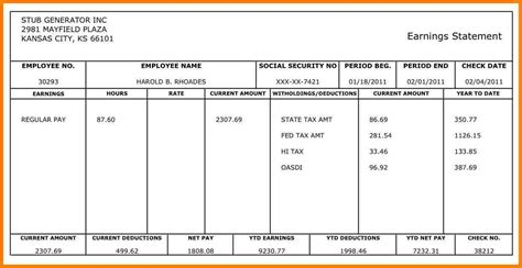 exle pay stub for students 7 sle pay stub for students sles of paystubs