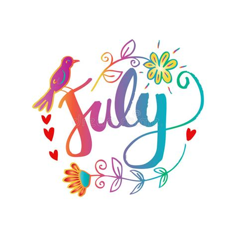 Hello July Hand Lettering Phrase. Stock Illustration ...