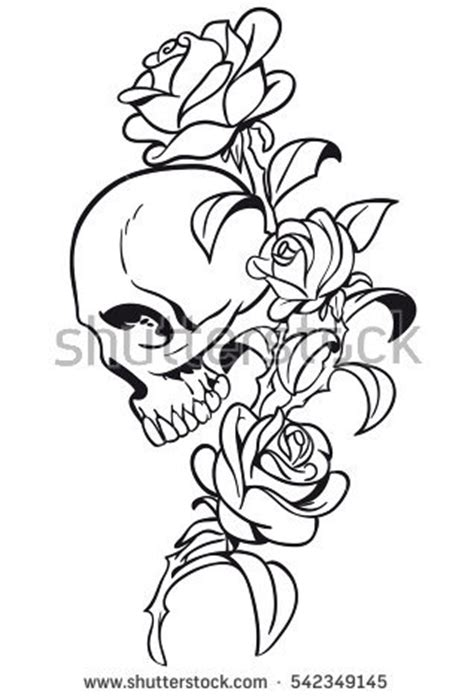 skull flowers tattoo stock vector  shutterstock