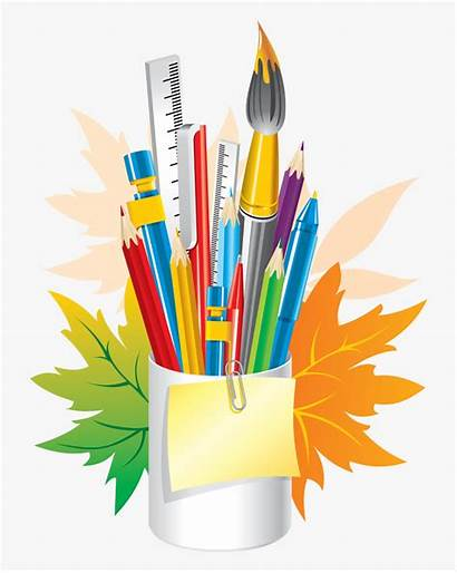 Stationery Clipart Stationary Crayon Transparent Crafts Office