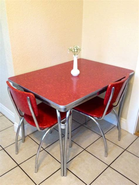 chrome retro red kitchen table   red