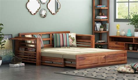 buy feltro bed cum sofa queen size teak finish