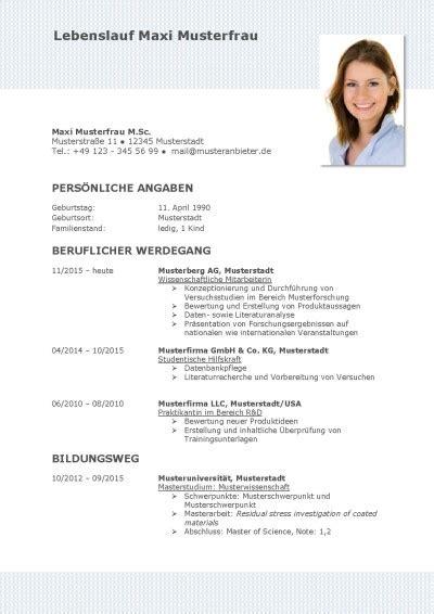 Vorlage Für Lebenslauf Word Kostenlos by Tabellarischer Lebenslauf Vorlage Kostenlose Muster Zum