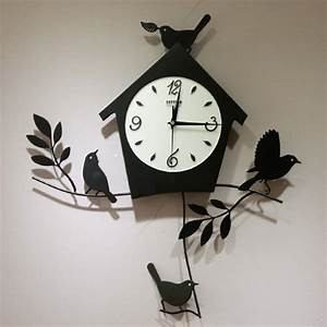 Birds house pattern modern design artistic wall clock
