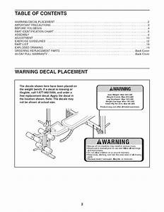Weider 831157110 User Manual Weight Bench Pro 265 Manuals