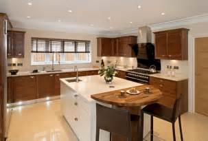 White L Shaped Kitchen With Island Faux Wood Blinds Contemporary Kitchen Brown White Modern Cabinets Contemporary
