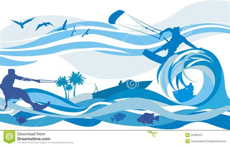 water sports kite surfing water skiing jet stock