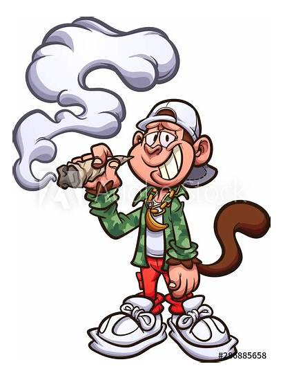 Smoking Cartoon Clip Joint Marijuana Monkey Cool
