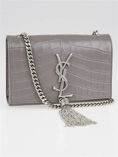 yves saint laurent grey crocodile embossed leather small cassandre tassel bag yoogis closet