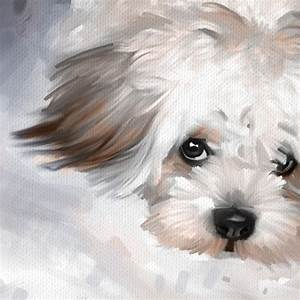 Maltese Dog Pet Portrait Original Art Painting Canvas ...